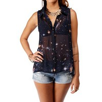 Navy Galaxy Pinched Back Sleeveless Top