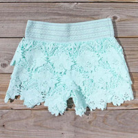 Bohemian Lace Shorts in Mint, Women&#x27;s Sweet Bohemian Clothing