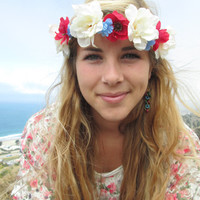 "Adjustable Flower Crown - ""Independence Day"", Fourth of July Crown"