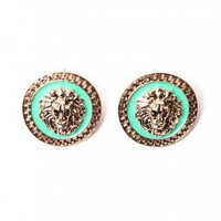 Lion Medallion Earrings