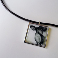 Cow Jewelry - Leather Necklace - Pendant - Jewlery - SamIamArt