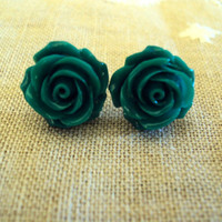 Dark Green Floral Resin Cabochon Earrings by thewoodlandburrow