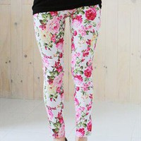 New floral print leggings jeans jeggings - white