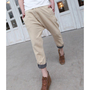 Khaki Men Micro Cross Casual Lattice Lapel Cotton Ninth Pants M/L/XL 1516SJ-K-20k