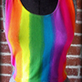 90&#x27;s Neon Rainbow Tie Dye Crop Top Sml/Med