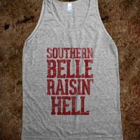 Southern Belle Raisin' Hell Vintage Dirty Red - Country Shirts - Skreened T-shirts, Organic Shirts, Hoodies, Kids Tees, Baby One-Pieces and Tote Bags