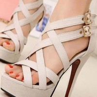 Ladies High Heel Fashion Evening Strappy Shoes Sandals