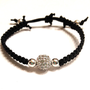 Black Onyx Macramé Silver Rhinestone Pave Beaded Bracelet Arm Candy Jewelry Stackable Dollar Shipping Party