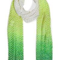 Missoni - Lemon Green/White Mesh Linen-Cotton-Blend Scarf