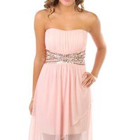 strapless sequin bodice tulip party dress with short high low skirt - 400003639298 - debshops.com