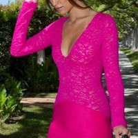 Pink Long Sleeve Lace Dress with V-Neckline &amp; Sheer Sleeves