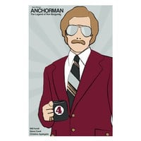 Film poster Anchorman 12x18 inches movie print by claudiavarosio