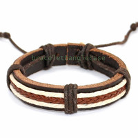 Leather cuff bracelet woven bracelet cotton ropes bracelet men bracelet women bracelet best friend gift  d-344
