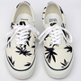 Classic Authentic White Vans w/ Marjiuana Leaf Decals