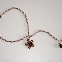 Copper Chain Slave Anklet with Flower Charm-Anklet with Toe Ring Attached | StarlightSarah - Jewelry on ArtFire