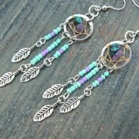 turquoise and amethyst dreamcatcher earrings TURQUOISE in native american tribal boho belly dancer and hipster style