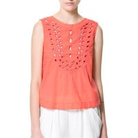EMBROIDERED COTTON TOP - Woman - New this week - ZARA United States