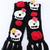 Sugar skull crochet scarf - Day of the Dead unique scarf - sugar skull scarf