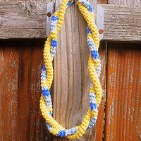 Double Twist Crochet Cotton Necklace in spring yellows and blues, ready to ship.