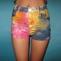 SakuraShop  Rainbow Gradient Denim Shorts