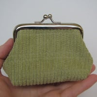 Green metal frame coin purse, coin purse