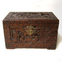 Vintage 1960s large rustic Chinese camphor wood trinket box chest