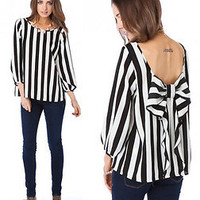 NWT BLACK WHITE STRIPED TUNIC TOP LONG SLEEVE SHEER CHIFFON BOW RUFFLE BLOUSE