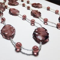 Plum Purple Crinkly Leaves Lampworked Glass Beaded Necklace