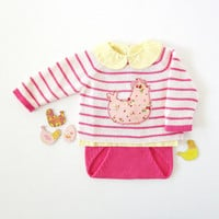 Knitted striped sweater and diaper cover in pink with chicken. 100% cotton. READY TO SHIP size newborn. Easter.