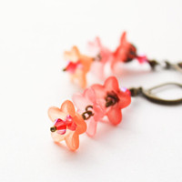 Coral Earrings Floral Accessories Sunset Colors by apocketofposies