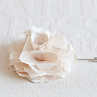 70mm Light Champagne Satin Men's Flower Boutonniere / Buttonhole For Wedding,Lapel Pin,Tie Pin