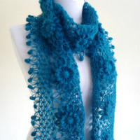 Turquoise crochet scarf, crochet flower scarf, turkish scarf style, unique gift, valentines day, 2013