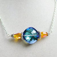 Large Deep Blue &amp; Orange Sparkly Crystal Pendant Necklace