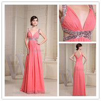 Formal Dresses Online Australia — A-line Chiffon Pink Rhinestone Formal Dresses at Edressestore.com.au