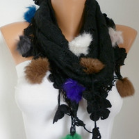 Mother&#x27;s Day Gift - Black Scarf - Knitted Fabric  Scarf  -  Cowl Scarves with Lace Pompom Edge - Black ///