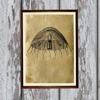 Ocean jellyfish print Old paper Antiqued decoration vintage looking 8.3 x 11.7 inches