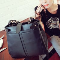 New Women Cool Shoulder Bag Satchel Purses Drawstring Solids Black Casual Aq