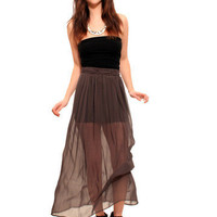 GYPSY WARRIOR - Sheer Grey Maxi Skirt