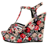 GYPSY WARRIOR - Iris Floral Platform Wedges
