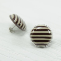 Brown Striped Stud Earrings 20mm - Striped Earrings - Striped Studs - Brown and Beige - Brown Studs - Stainless Steel - Everyday Wear Studs