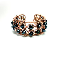 black czech crystal bracelet copper wire by theflowerdesign