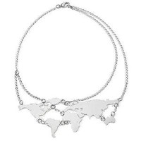 WORLD LINKS NECKLACE- SILVER | Silver World Map Jewelry | UncommonGoods