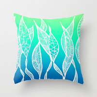 Sway Ombre (Aqua Sea) Throw Pillow by Lisa Argyropoulos