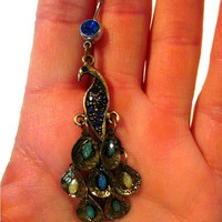 Navel Belly Button Ring Silver Tone Barbell with Upcycled Peacock Lightweight