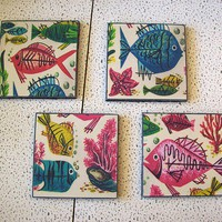 retro nautical coasters mid century vintage 1950&#x27;s abstract fish rockabilly decor