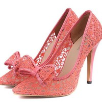 Pink Lace Pointed Pumps with Bow Detail