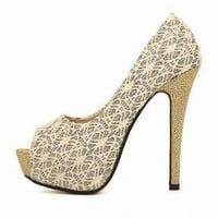 Cream Crochet Lace Overlay Peep Toe Pumps