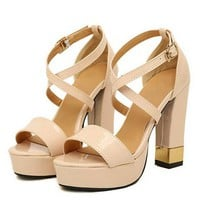 Nude Strappy Heels with Gold Color Block Detail