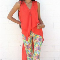 Asymmetric Chiffon Top - Tangerine Tango