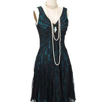 Blue Velvet Vintage - Special Occasion Dresses - Black Lace Teal Blue Satin 20s Inspired Gatsby Dress